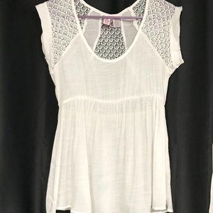 Love On A Hanger White Lace Sheer Blouse